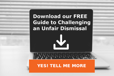 computer screen with the words Download our Free Guide to challenging an Unfair Dismissal