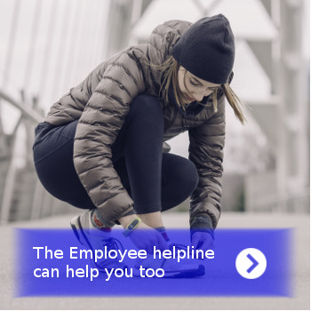 employeehelpline girl tying her shoe